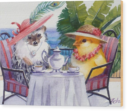 Tea Time For A Baby Chick And Hedgehog Wood Print