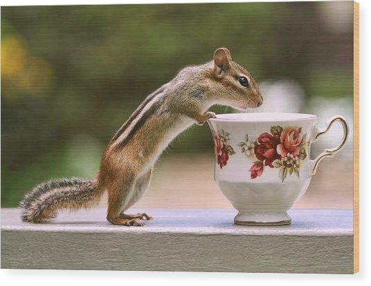 Tea Time With Chipmunk Wood Print