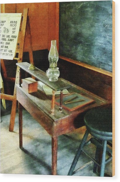 Teacher's Desk With Hurricane Lamp Wood Print