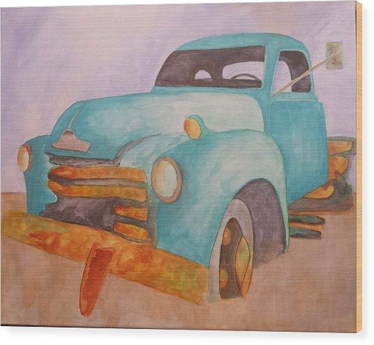 Teal Chevy Wood Print