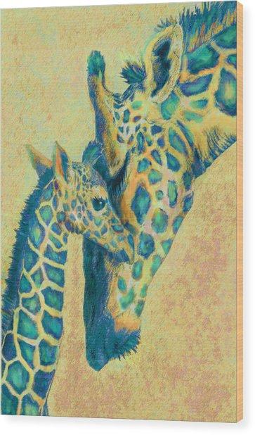 Teal Giraffes Wood Print