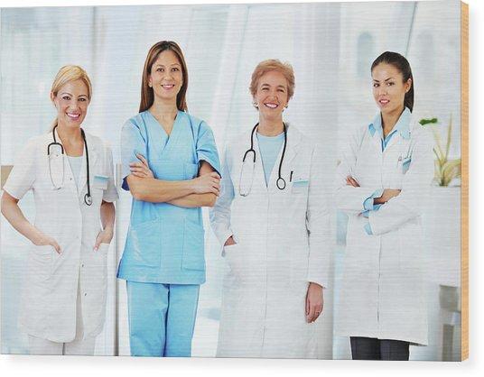 Team Of Female Doctors Wood Print by Skynesher
