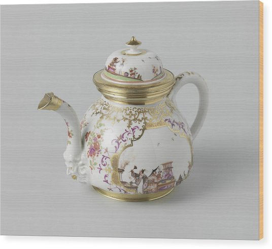 Teapot With Lid, Multicolor Painted With Chinoiserie Wood Print