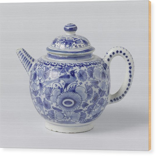 Teapot With Lid Of Blue Painted Faience, On Foot Ring Wood Print