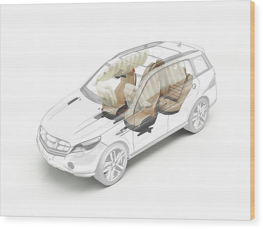 Technical Drawing Of Car Seats And Airbags Wood Print by Leonello Calvetti/science Photo Library