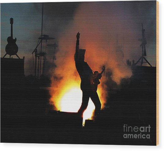 Ted Nugent On Fire Wood Print