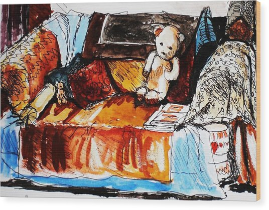 Ted On The Sofa Wood Print by Anne Parker