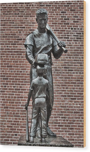 Ted Williams Statue - Boston Wood Print