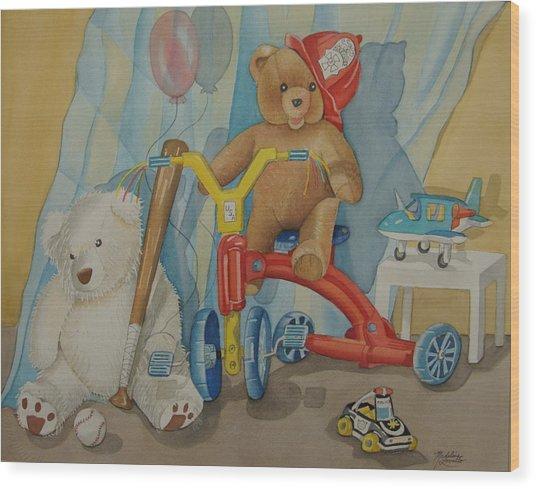 Teddy On A Bike Wood Print