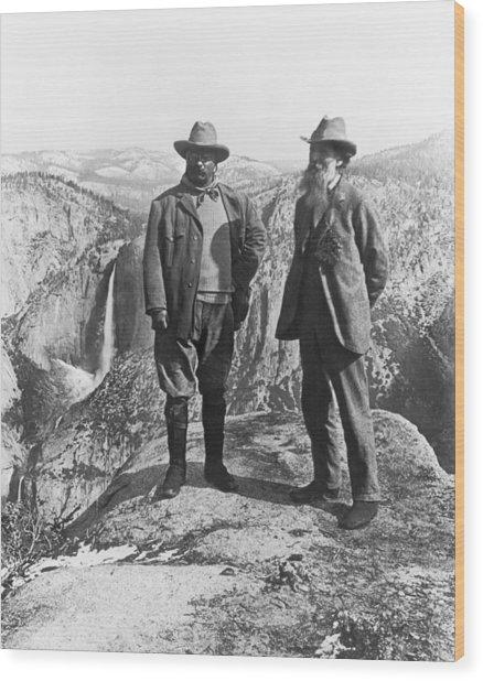 Teddy Roosevelt And John Muir Wood Print