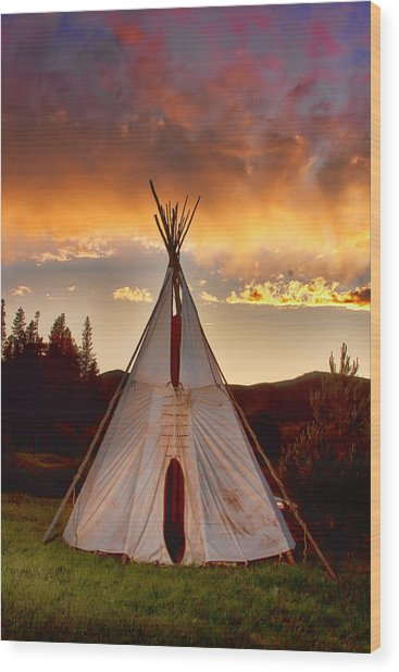 Teepee Sunset Portrait Wood Print by James BO  Insogna