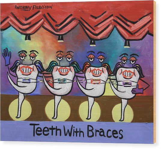 Teeth With Braces Dental Art By Anthony Falbo Wood Print