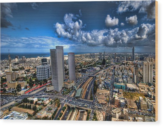Tel Aviv Center Skyline Wood Print