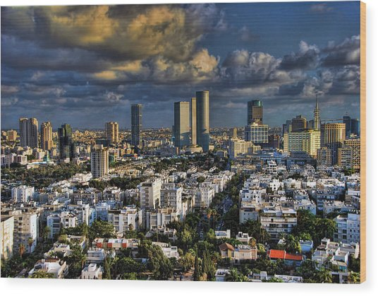 Tel Aviv Skyline Fascination Wood Print