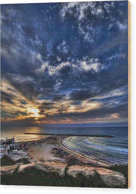 Tel Aviv Sunset At Hilton Beach Wood Print
