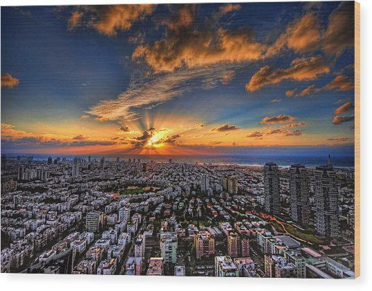 Tel Aviv Sunset Time Wood Print