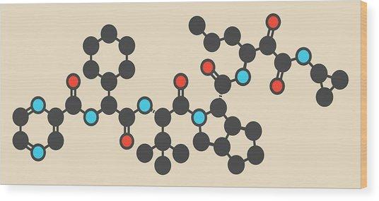 Telaprevir Hepatitis C Drug Molecule Wood Print