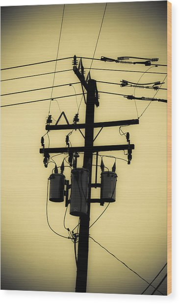 Telephone Pole 3 Wood Print