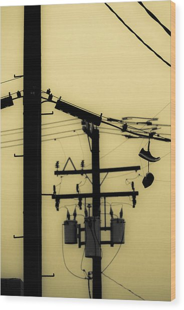 Telephone Pole And Sneakers 5 Wood Print
