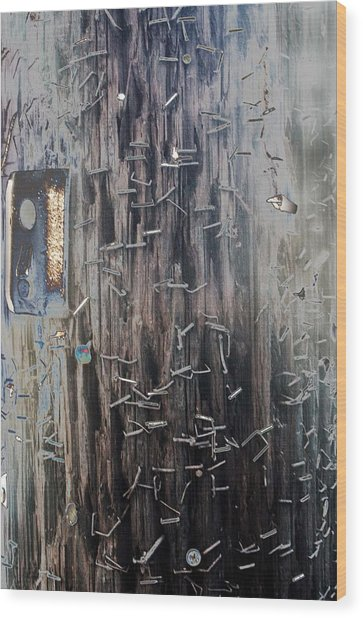 Telephone Pole With Scars From The Past Wood Print