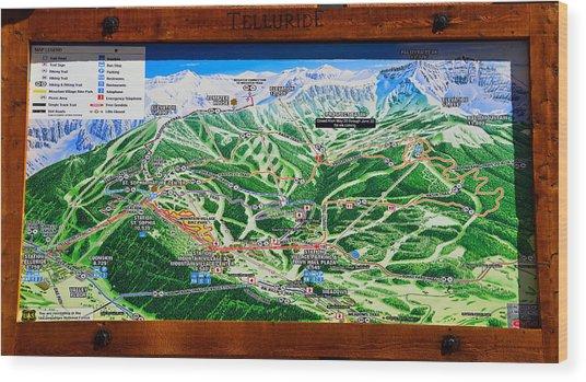 Telluride Ski Map Detail  Wood Print