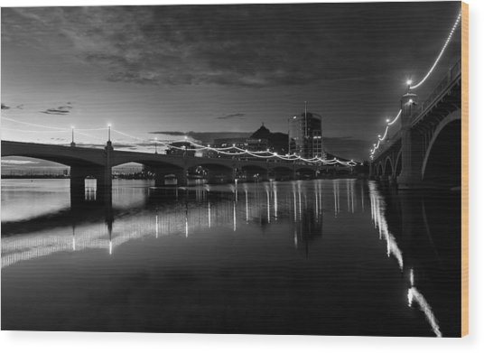 Tempe Town Lake In Black And White Wood Print