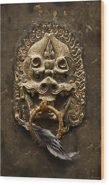 Temple Guardian With Feather Wood Print by Larry Butterworth