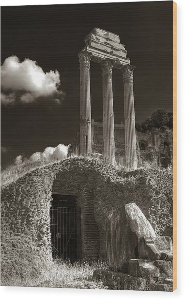 Temple Of Castor And Polux Wood Print