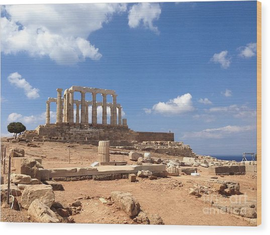 Temple Of Poseidon Wood Print