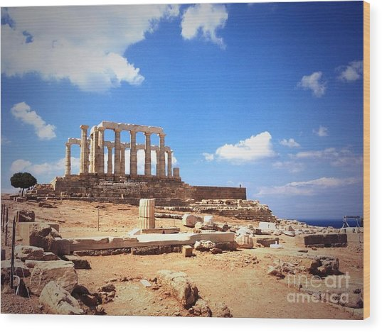 Temple Of Poseidon Vignette Wood Print