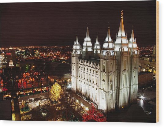 Temple Square Wood Print