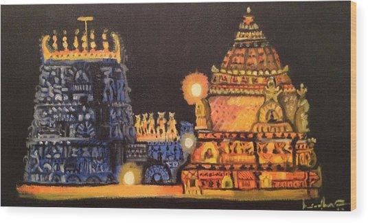 Templelights Wood Print