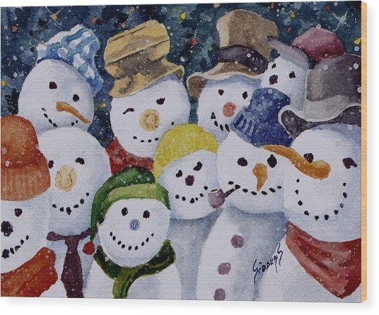 Ten Little Snowmen Wood Print