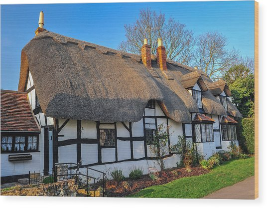 Ten Penny Cottage Welford On Avon Wood Print by David Ross