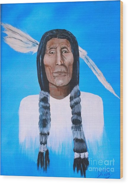 Chief Wolf Robe Wood Print