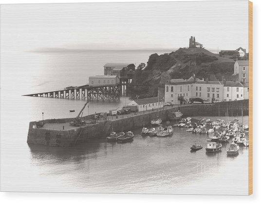 Wood Print featuring the photograph Tenby Harbour And Castle Hill Vignette by Jeremy Hayden