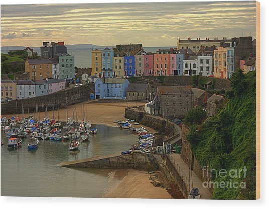 Wood Print featuring the photograph Tenby Harbour In The Morning by Jeremy Hayden