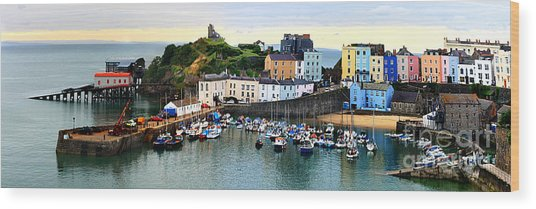 Wood Print featuring the photograph Tenby Harbour Panorama by Jeremy Hayden