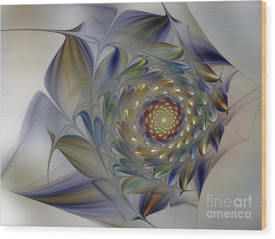 Tender Flowers Dream-fractal Art Wood Print
