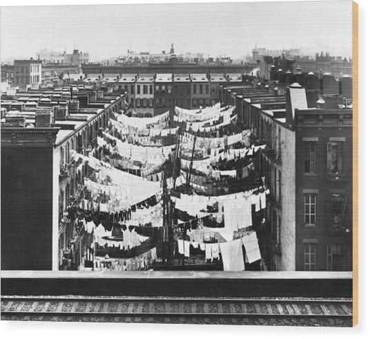 Tenement Housing Laundry Wood Print