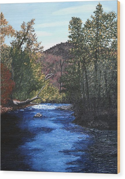 Tennessee A River Through The Woods Wood Print by Beth Parrish