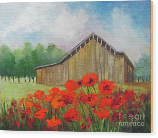Tennessee Barn With Red Poppies Wood Print