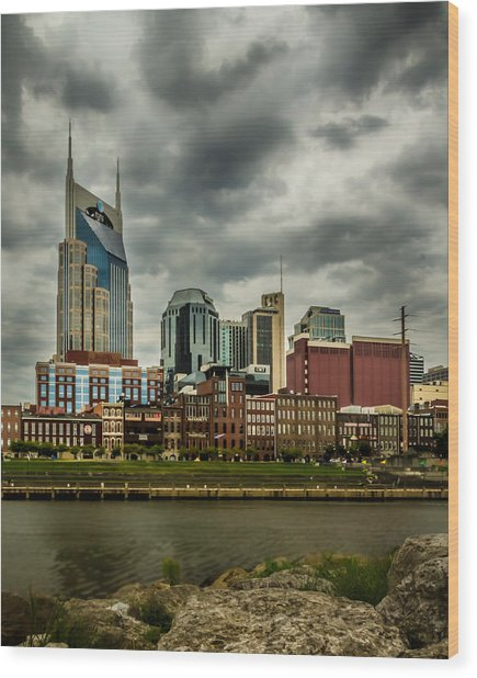 Tennessee - Nashville From Across The Cumberland River Wood Print