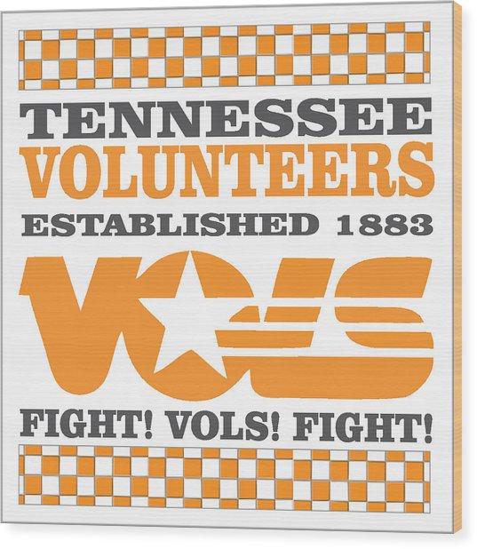 Tennessee Volunteers Fight Wood Print