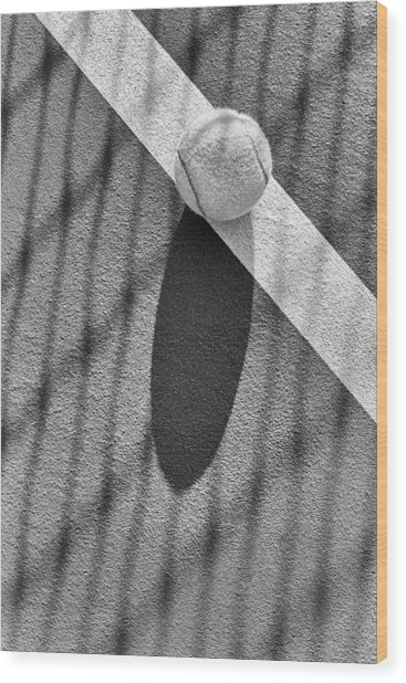 Tennis Ball And Shadows Wood Print
