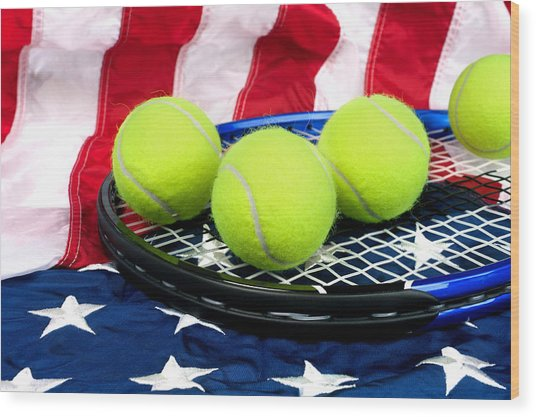 Tennis Equipment On American Flag Wood Print