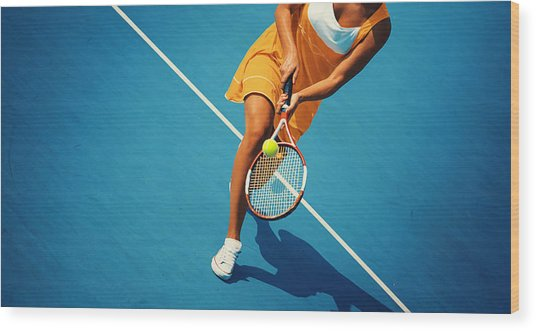 Tennis Game. Wood Print by Gilaxia
