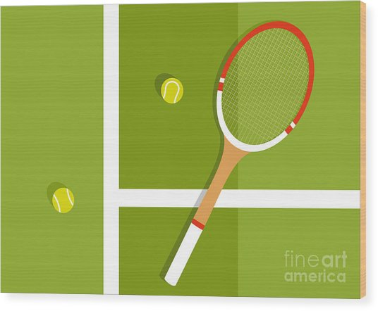 Tennis Racquet And Balls Are On The Wood Print