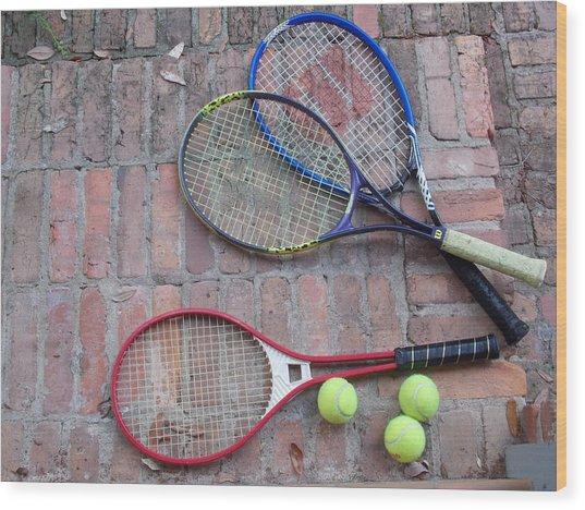 Tennis Time Wood Print by Annette Allman
