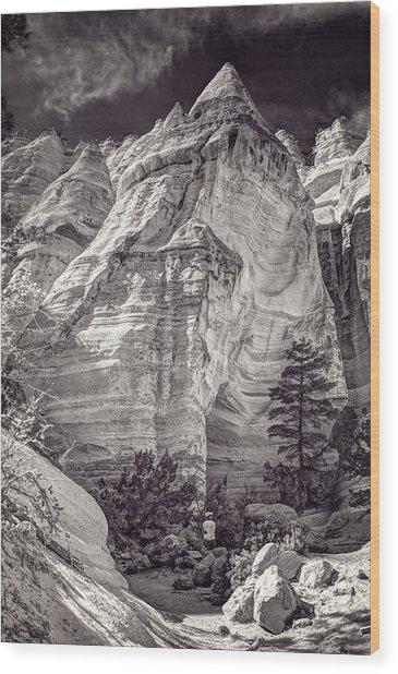 Tent Rocks No. 2 Bw Wood Print